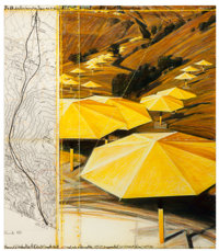 CHRISTO AND JEANNE-CLAUDE The Umbrellas (Project for Japan and USA), 1987 Graphite, charcoal, pastel