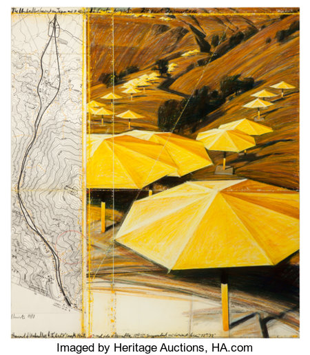 CHRISTO AND JEANNE-CLAUDEThe Umbrellas (Project for Japan and USA), 1987Graphite, charcoal, pastel, wax crayon; map ... (Total: 2 Items)