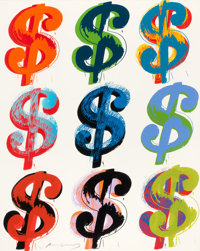 ANDY WARHOL (American, 1928-1987) $ (9), 1982 Screenprint in colors 40 x 32 inches (101.6 x 81.3