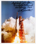 Autographs:Celebrities, Scott Carpenter Signed Color Photo of John Glenn Launch....