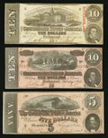 Confederate Notes:1863 Issues, T59 $10 1863 PF-33 Cr. 435. T68 $10 1864 PF-31 Cr. 549. T69 $5 1864PF-10 Cr. 564.. ... (Total: 3 notes)