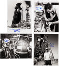 Autographs:Celebrities, Gordon Cooper Signed Mercury-Related Original NASA Photos(Four).... (Total: 4 Items)