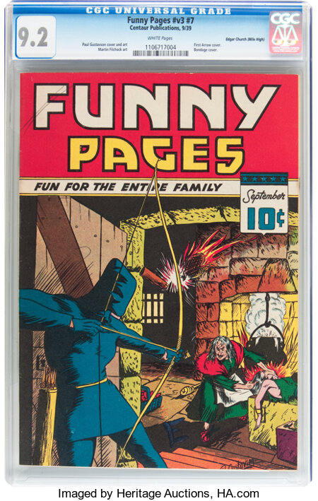 Funny Pages V3#7 Mile High pedigree (Centaur, 1939) CGC NM- 9.2 White pages....