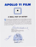 Explorers:Space Exploration, Apollo 11 Lunar Module Flown Camera Film on a Certificate ofAuthenticity, Signed by Mission Lunar Module Pilot Buzz Aldrin....
