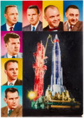 "Explorers:Space Exploration, Project Mercury: Original Artwork for Number Six ""Space Explorers""Card from Topps' 1963 ""Astronauts"" Series...."