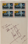 "Autographs:Celebrities, Neil Armstrong Signature on Sheet Bearing a Block of Four ""FirstMan on the Moon"" Stamps...."