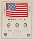 Explorers:Space Exploration, Apollo 10 Flown American Flag on Certificate Signed by MissionLunar Module Pilot Gene Cernan and Presented to His Hometown Ma...