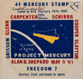 "Explorers:Space Exploration, Mercury Seven Astronauts: Project Mercury ""U.S. Man in Space"" StampDecal Signed by Carpenter, Cooper, and Schirra...."