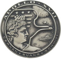 Apollo 17 Flown Silver Robbins Medallion, Serial Number F24, Directly from the Personal Collection of Astronaut Alan Bea...