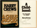 Books:Literature 1900-up, Harry Crews. SIGNED. A Childhood. New York: Harper and Row,[1978]. First edition. Signed by the author. Octavo. 171...
