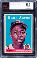 Baseball Cards:Singles (1950-1959), Rare 1958 Topps Hank Aaron (Blue Background) #30 BVG EX-MT+ 6.5 -The Finest on Record! ...