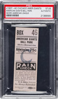 Baseball Collectibles:Tickets, 1937-40 Chicago American Giants Negro League Ticket Stub....