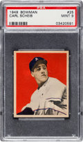 Baseball Cards:Singles (1940-1949), 1949 Bowman Carl Scheib #25 PSA Mint 9 - Only One Higher. ...