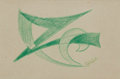 Fine Art - Work on Paper:Drawing, GIACOMO BALLA (Italian, 1871-1958). Study for the Line ofVelocity No. 2 (double-sided), circa 1913. Colored pencil onp...