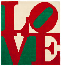 ROBERT INDIANA (American, b. 1928) Chosen Love (Red, Green, White) Wool 120 x 120 inches (304.8 x
