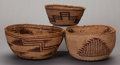 American Indian Art:Baskets, THREE MODOC/KLAMATH TWINED BOWLS... (Total: 3 )