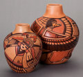 American Indian Art:Pottery, TWO HOPI POLYCHROME JARS. Tom Polacca... (Total: 2 )