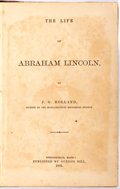Books:Americana & American History, [Abraham Lincoln]. J.G. Holland. The Life of AbrahamLincoln. Springfield, Massachusetts: Gurdon Bill, 1866.Octavo....