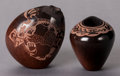 American Indian Art:Pottery, TWO MINIATURE SANTA CLARA ETCHED BROWN/BLACKWARE JARS. ForrestNaranjo... (Total: 2 )