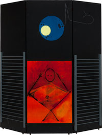 MAX ERNST (German, 1891-1976) Le Grand Ignorant (Paravent), 1974 Oil on three panels of wood, with c