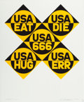 Prints:Contemporary, ROBERT INDIANA (American, b. 1928). USA 666 (from theportfolio Decade), 1971. Screenprint in colors. 28 x 28inches...