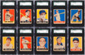 Baseball Cards:Lots, 1948 Leaf Baseball Short Print SGC Graded Collection (10) WithFeller. ...