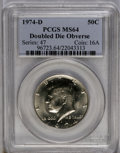 Kennedy Half Dollars: , 1974-D 50C Doubled Die Obverse MS64 PCGS. PCGS Population (177/66).(#96723)...
