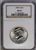 Kennedy Half Dollars: , 2004-D 50C MS67 NGC. NGC Census: (55/8). PCGS Population (369/24).(#6787)...