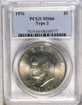 Eisenhower Dollars: , 1976 $1 Type Two MS66 PCGS. PCGS Population (302/8). NGC Census: (234/2). Mintage: 113,318,000. Numismedia Wsl. Price: $200...