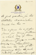 "Autographs:Celebrities, Andrew Carnegie Autograph Note Signed, one page on Boston AthleticAssociation letterhead, 4.5"" x 7"", December 8, 1894, reci..."