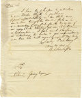 "Autographs:Statesmen, Charles Pinckney Autograph Letter Signed ""Charles Pinckney,""one page, 7.75"" x 9.5"". Charleston, May 20, 1801. To Elbrid..."