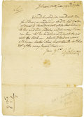 """Autographs:Military Figures, William Johnson Autograph Letter Signed"""" """"W Johnson,"""" one page, 8.25"""" x 11.5"""". Johnson Hall, January 22, 1770. Addressed..."""