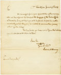 "Autographs:Statesmen, James McHenry Manuscript Letter Signed ""James McHenry"" asWashington's Secretary of War, one page, 8"" x 9.75"". War Offic..."