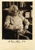 "Autographs:Inventors, Albert Einstein Photograph Signed ""A. Einstein. 54,"" 3"" x3.75"" sepia-tone image, overall 3.5"" x 5"". Stamped on verso: ""...(Total: 1 Item)"