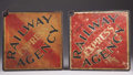 """Western Expansion:Cowboy, RAILWAY EXPRESS AGENCY ca. 1930's - Metal bound fiberboard signs;double sided and each has an """"A"""" and a """"B"""" side, varying f...(Total: 2 Item)"""
