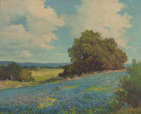 ROBERT WILLIAM WOOD (American, 1889-1979) Blooming Texas Hill Country Oil on canvas 16 x 20 inche
