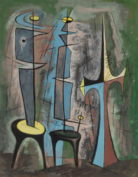 BROR ALEXANDER UTTER (American, 1913-1993) Untitled (Abstract Figures), 1954 Watercolor and gouache