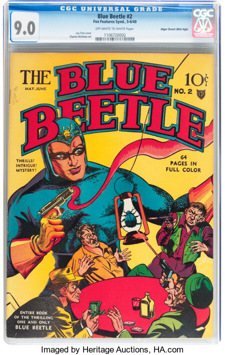 Blue Beetle #2 Mile High pedigree (Fox Features Syndicate, 1940) CGC VF/NM 9.0 Off-white to white pages....