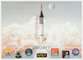 Explorers:Space Exploration, Mercury Seven Astronauts: Limited Edition Lithograph Signed by Sixplus Betty Grissom. ...