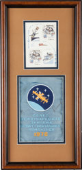 Explorers:Space Exploration, Soviet Soyuz 27 & 28 Signed Banner with Czech/ Soviet Flag andCzech Stamp Sheet in Framed Display. ...