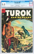 Golden Age (1938-1955):Miscellaneous, Four Color #596 Turok (Dell, 1954) CGC VF 8.0 Off-white to white pages....