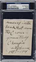 Boxing Collectibles:Memorabilia, 1914 Jack Johnson Handwritten Signed Note with Extraordinary Content....