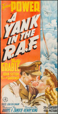 "Movie Posters:War, A Yank in the R.A.F. (20th Century Fox, 1941). Trimmed Three Sheet(39"" X 77"") Style B. War.. ..."