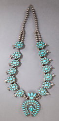 American Indian Art:Jewelry and Silverwork, A ZUNI SILVER AND TURQUOISE SQUASH BLOSSOM NECKLACE. c. 1950...