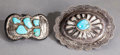 American Indian Art:Jewelry and Silverwork, TWO NAVAJO SILVER AND TURQUOISE BELT BUCKLES... (Total: 2 )