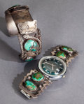 American Indian Art:Jewelry and Silverwork, TWO NAVAJO SILVER AND TURQUOISE WATCH BANDS... (Total: 2 )