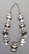 American Indian Art:Jewelry and Silverwork, A ZUNI SILVER, STONE AND SHELL SQUASH BLOSSOM NECKLACE...