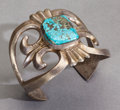 American Indian Art:Jewelry and Silverwork, A NAVAJO SILVER AND TURQUOISE SANDCAST BRACELET...