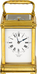 Timepieces:Clocks, Tiffany & Co. New York, France Fine Gilt Brass 8-Day Going, Quarter-Striking & Repeating Carriage Clock. ...