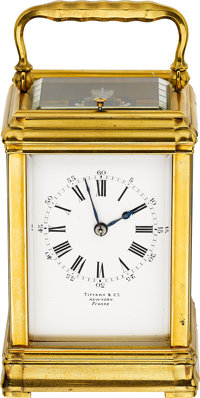 Tiffany & Co. New York, France Fine Gilt Brass 8-Day Going, Quarter-Striking & Repeating Carriage Clock